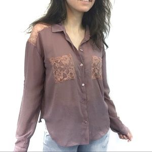 Charlotte Russe Purple Blouse with Pink Lace